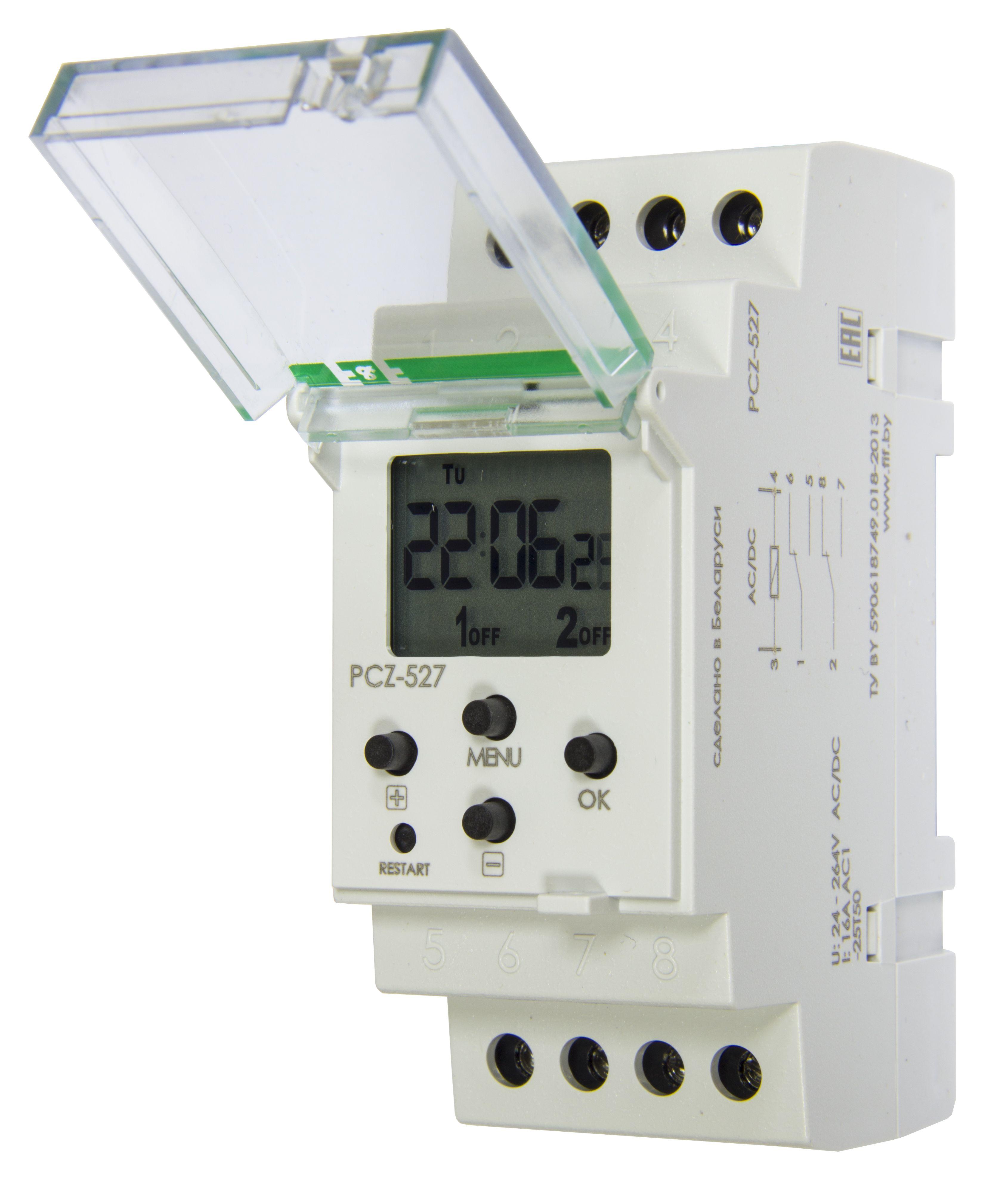 Купить Реле времени программируемое PCZ-527 двухканальное, астрономическое, включение/в, Евроавтоматика ФиФ