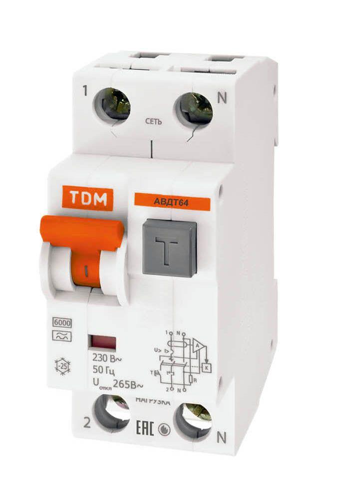Купить Дифференциальный автомат 2-пол. 50А с 30мА АВДТ 64 TDM АВДТ63, АВДТ64, TDM ELECTRIC