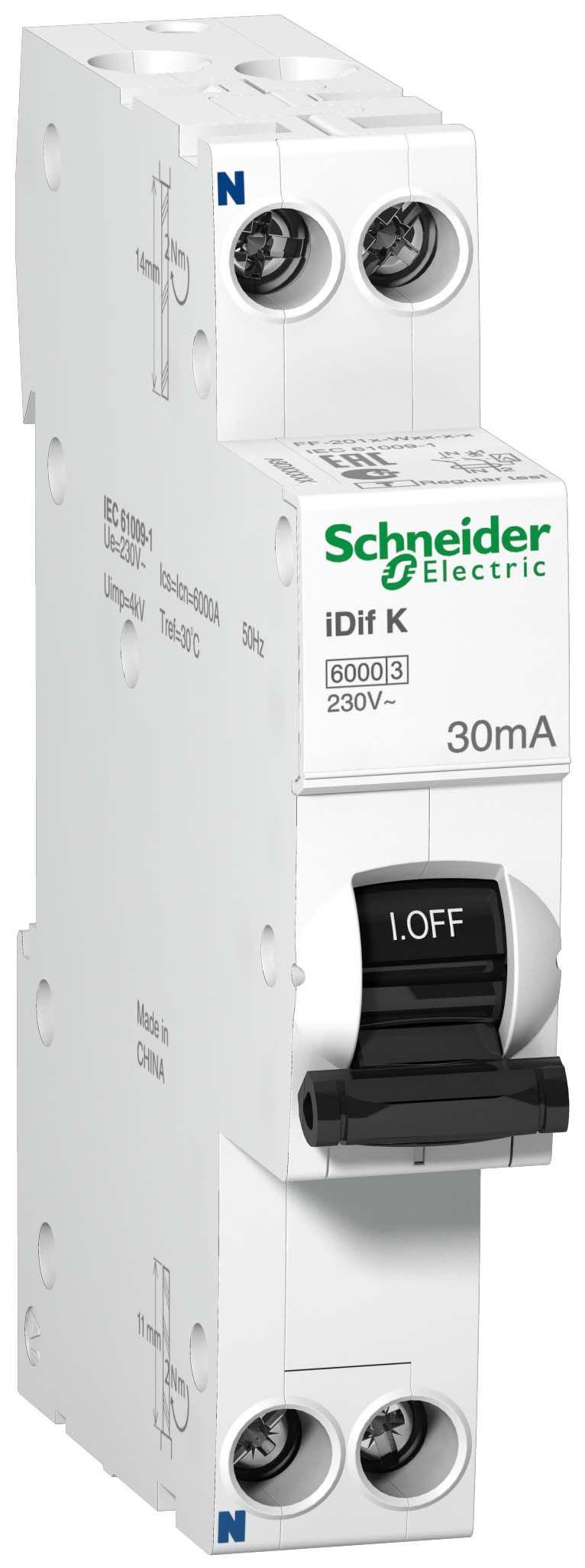 Купить Дифференциальный автомат 1пол.+N 20А 30мА 6kA iDif K Schneider Electric