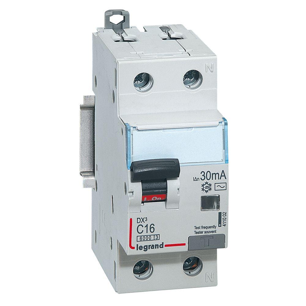 Купить Дифференциальный автомат 1пол.+N 16А 30mA тип AC DX3 Legrand
