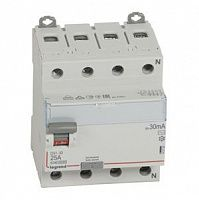 Купить Устройство защитного отключения 4-пол. 25А 30mA тип АС DX3 Legrand