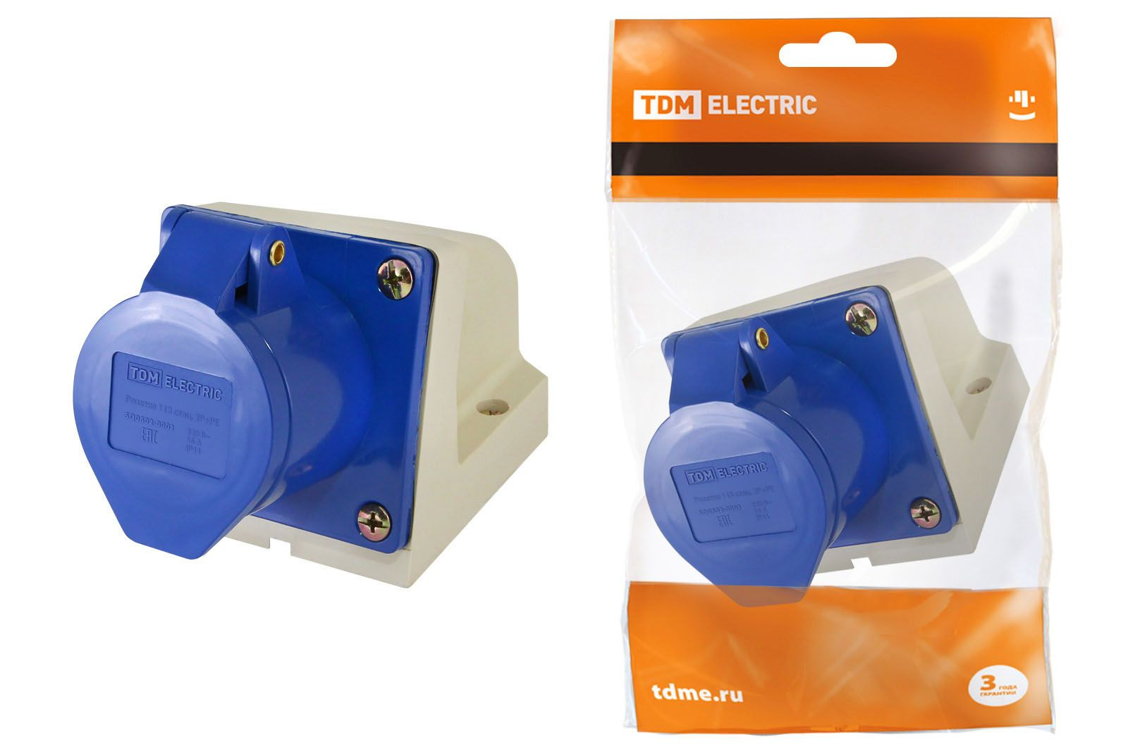 Купить Розетка для монтажа на поверхность 2P+E 16A IP44 TDM силовая стационарная, TDM ELECTRIC