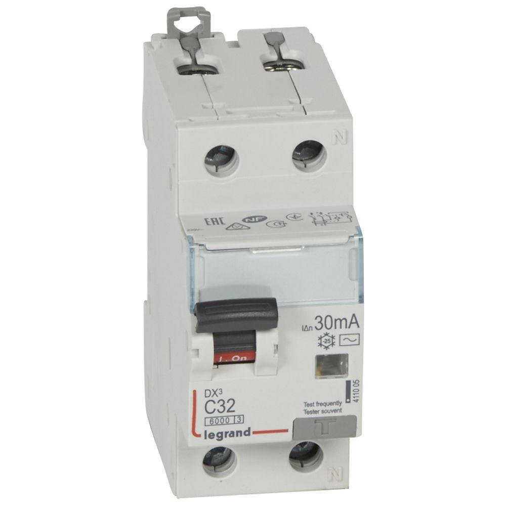 Купить Дифференциальный автомат 1пол.+N 32А 30mA тип AC DX3 Legrand