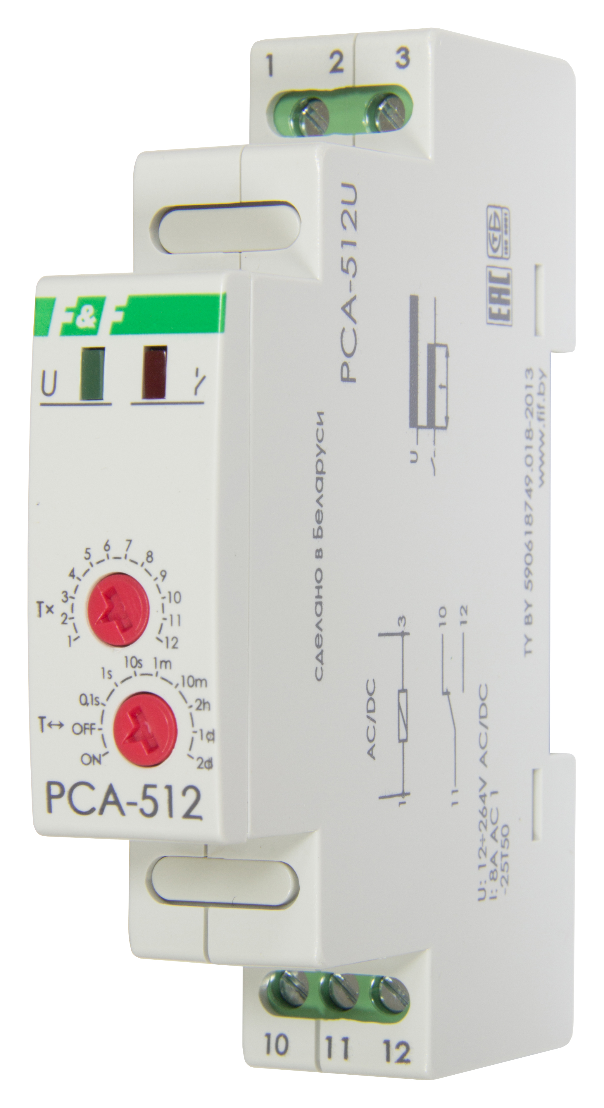 Купить Реле времени PCA-512U (задержка на выкл.) 0, 1 с - 24 ч, 12-264В АС/DC, Евроавтоматика ФиФ