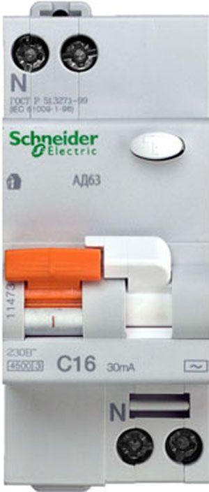 Купить Дифференциальный автомат 1пол.+N 16А 30мА 4, 5kA Domovoy Schneider Electric