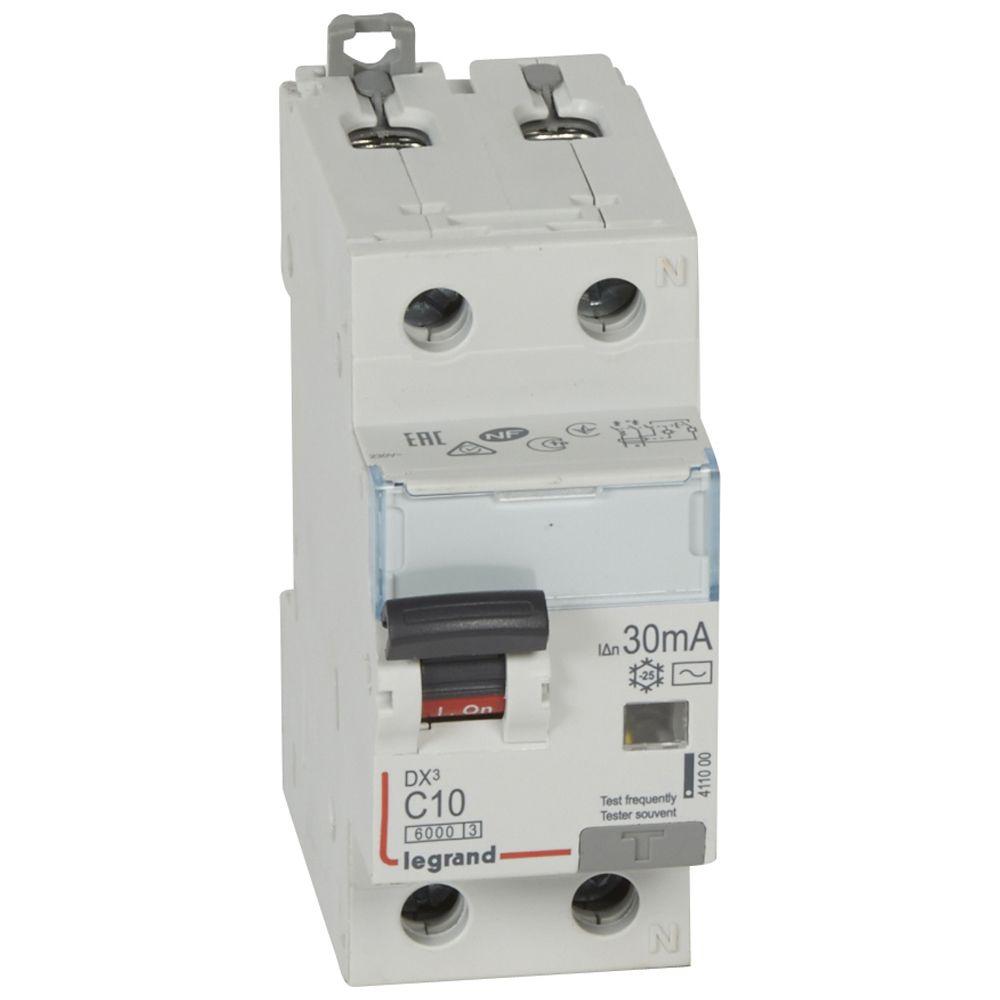 Купить Дифференциальный автомат 1пол.+N 10А 30mA тип AC DX3 Legrand