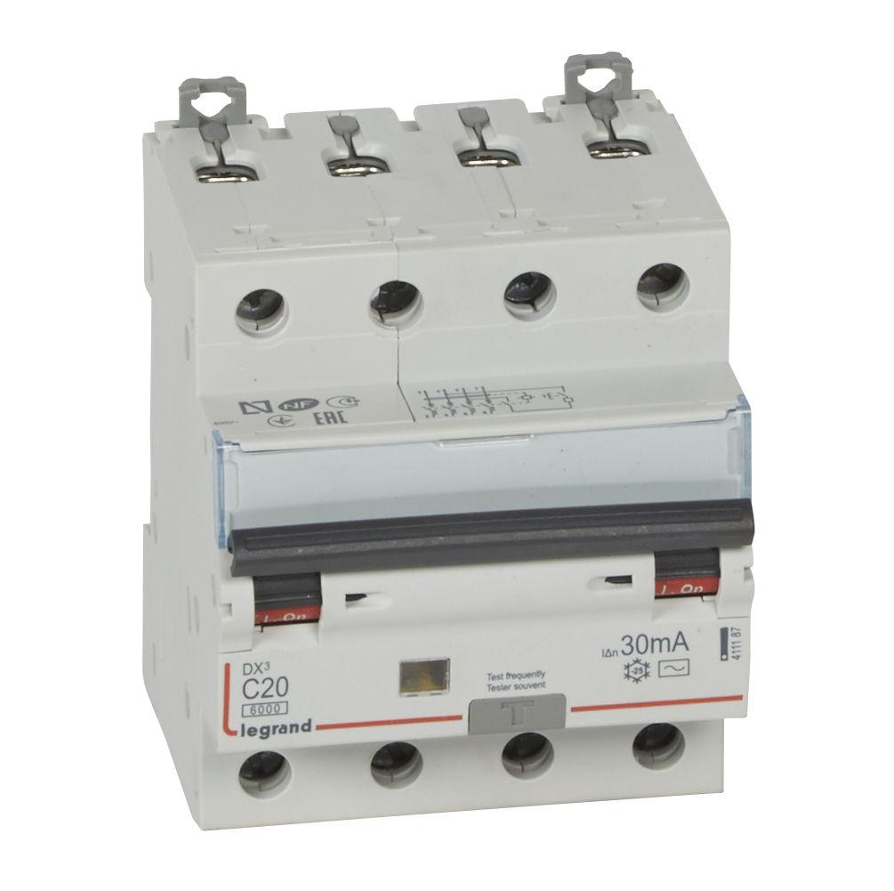 Купить Дифференциальный автомат 4-пол. 20А 30mA тип AC DX3 Legrand