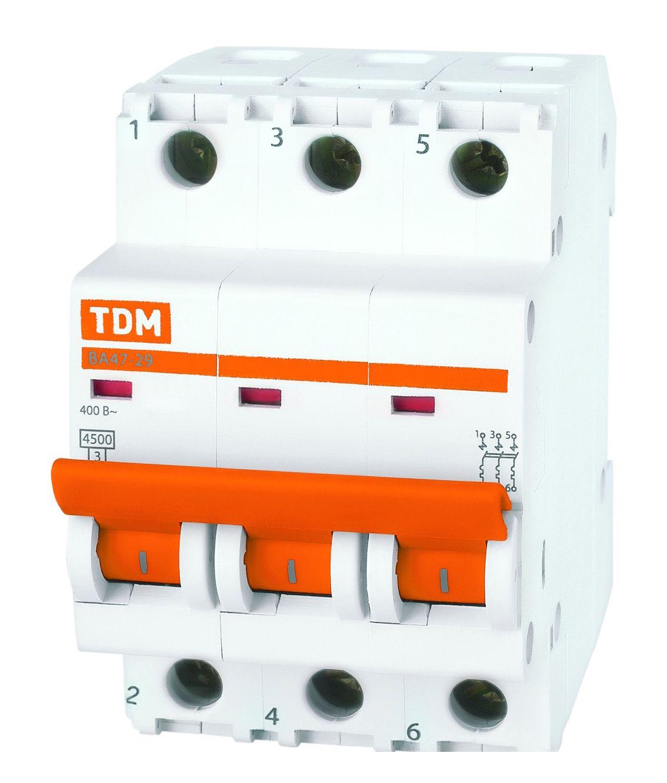 Купить Выключатель автоматический 3-пол. 6А с 4, 5кА ВА47-29 с ВА47-29 TDM, TDM ELECTRIC