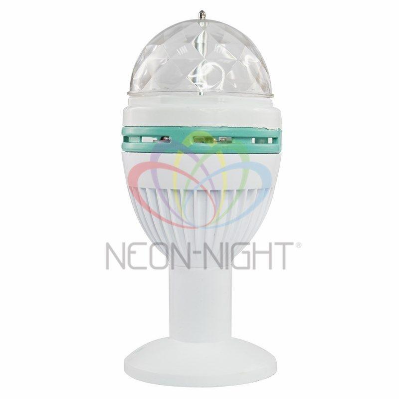 Купить Лампа Е27 (LED) яйцо 6 Вт 220 В RGB ДИСКО, подставка с патроном и вилкой в ком, NEON-NIGHT