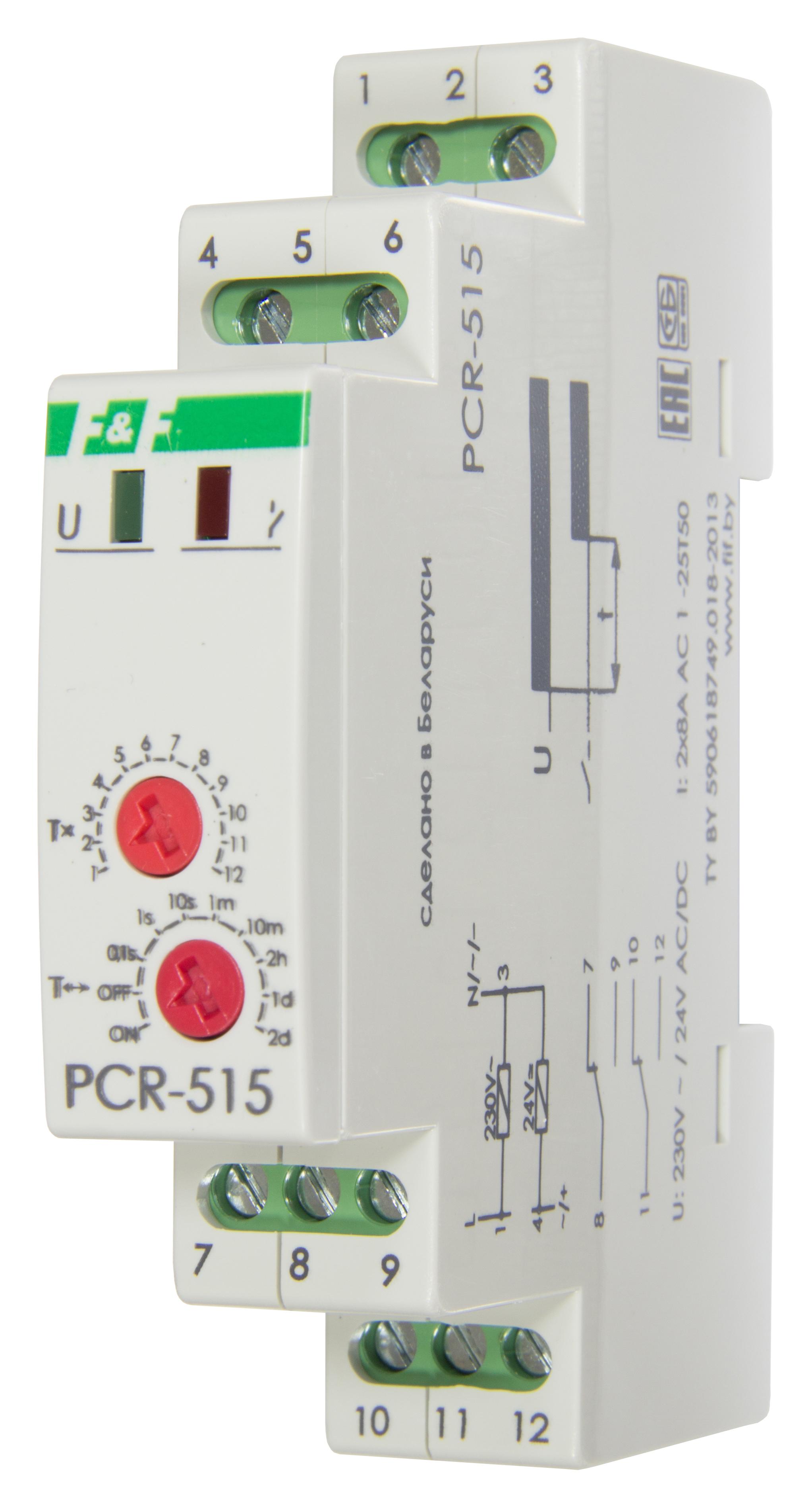 Купить Реле времени с задержкой включения PCR-515, контакт 2Р, монт. на DIN-рейке 35 мм, Евроавтоматика ФиФ