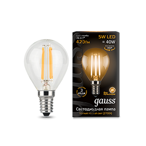 Купить Лампа светодиодная Gauss 105801105 5Вт 230В Е14 филаментная, теплый-белый