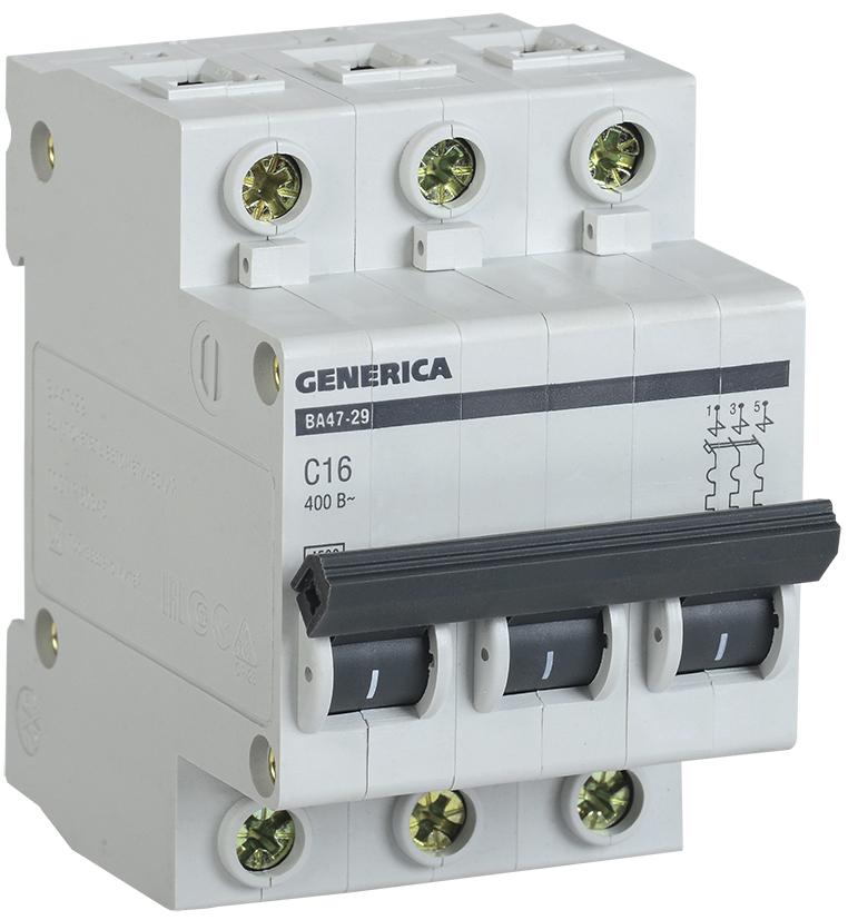 Купить Выключатель автоматический 3-пол. 16A с 4, 5кА ВА47-29 GENERICA IEK, IEK (ИЭК)