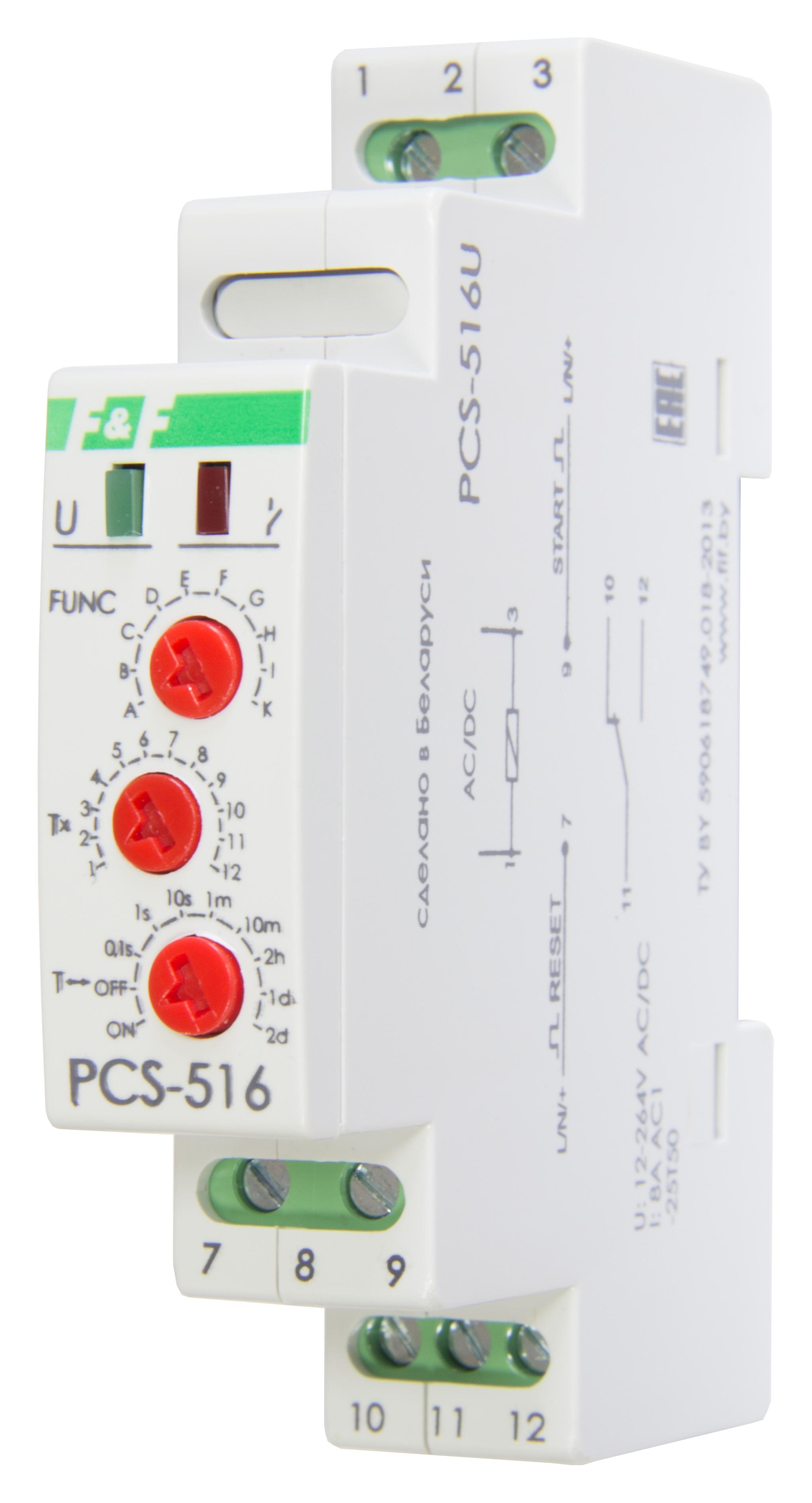 Купить Реле времени многофункциональное PCS-516U, 10А, 12-264В, контакт 1Р, с входами S, Евроавтоматика ФиФ