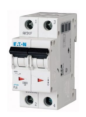 Купить Автоматический выключатель 2А, хар. С, 2-пол., 6 кА PL6 (6 кА), PL7 (10kA), PLHT, EATON