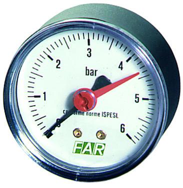 Купить Манометр FAR 1/4 (торцевое соед.), 0-4 бар, - 20-80 °C, O 63 мм, Италия