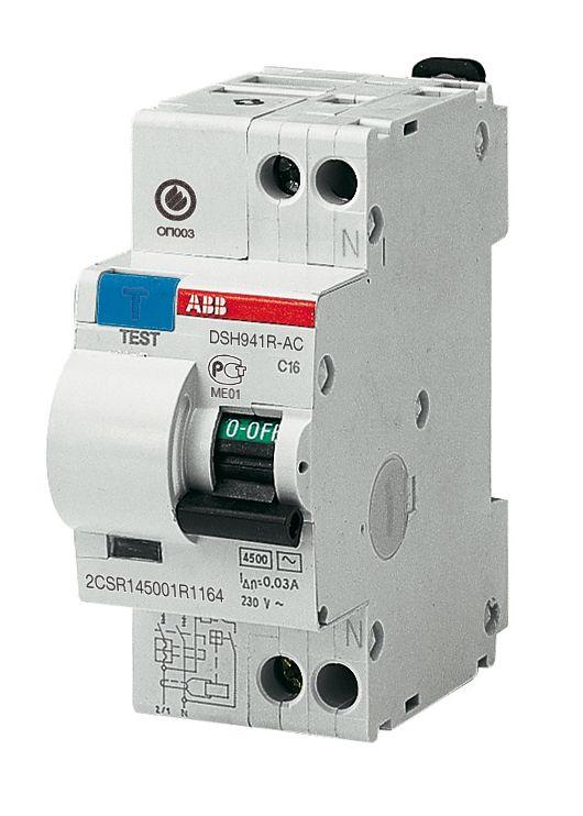 Дифференциальный автомат 1-пол+N 6A с 30mA тип АC 4.5kA ABB DSH941R  - Купить
