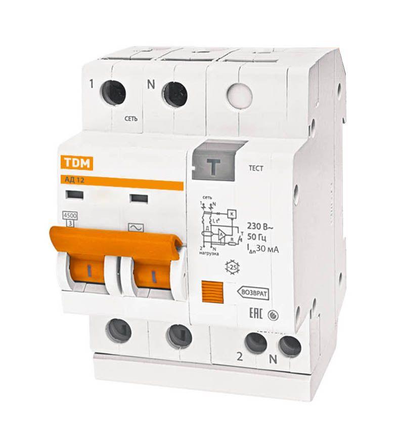 Дифференциальный автомат 2-пол. 20А с 30мА 4, 5кА АД12 TDM АД12, , TDM ELECTRIC  - Купить