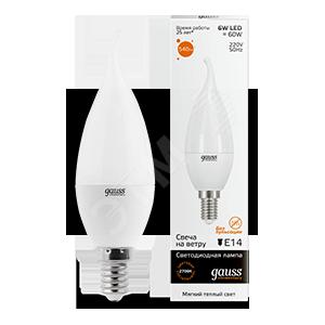 Купить Лампа светодиодная LED 6вт 230в, Е14, теплый, свеча на ветру Gauss Elementary Ga, Китай