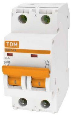 Выключатель автоматический 2-пол. 10А с 4, 5кА ВА47-29 с ВА47-29 TDM, TDM ELECTRIC  - Купить