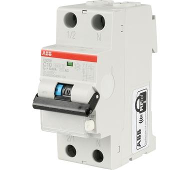 Купить Выключатель авт. диф. тока 1п+N 2мод. C 10А 30мА тип AC 6кА DS201 C10 AC30 ABB 2, Италия