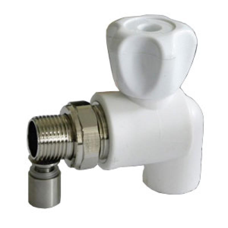 Купить Кран шаровой PPR белый 25 х 12 НР для радиатора угловой (8574) FDplast
