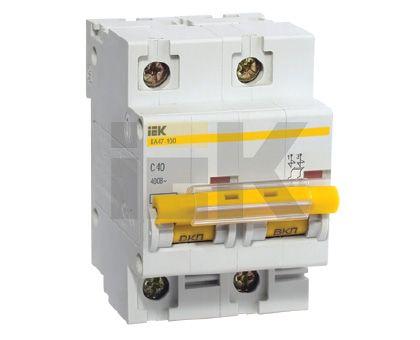 Купить Выключатель автоматический 2-пол. 100А с 10 кА ВА47-100 IEK CВА47-100, IEK (ИЭК)