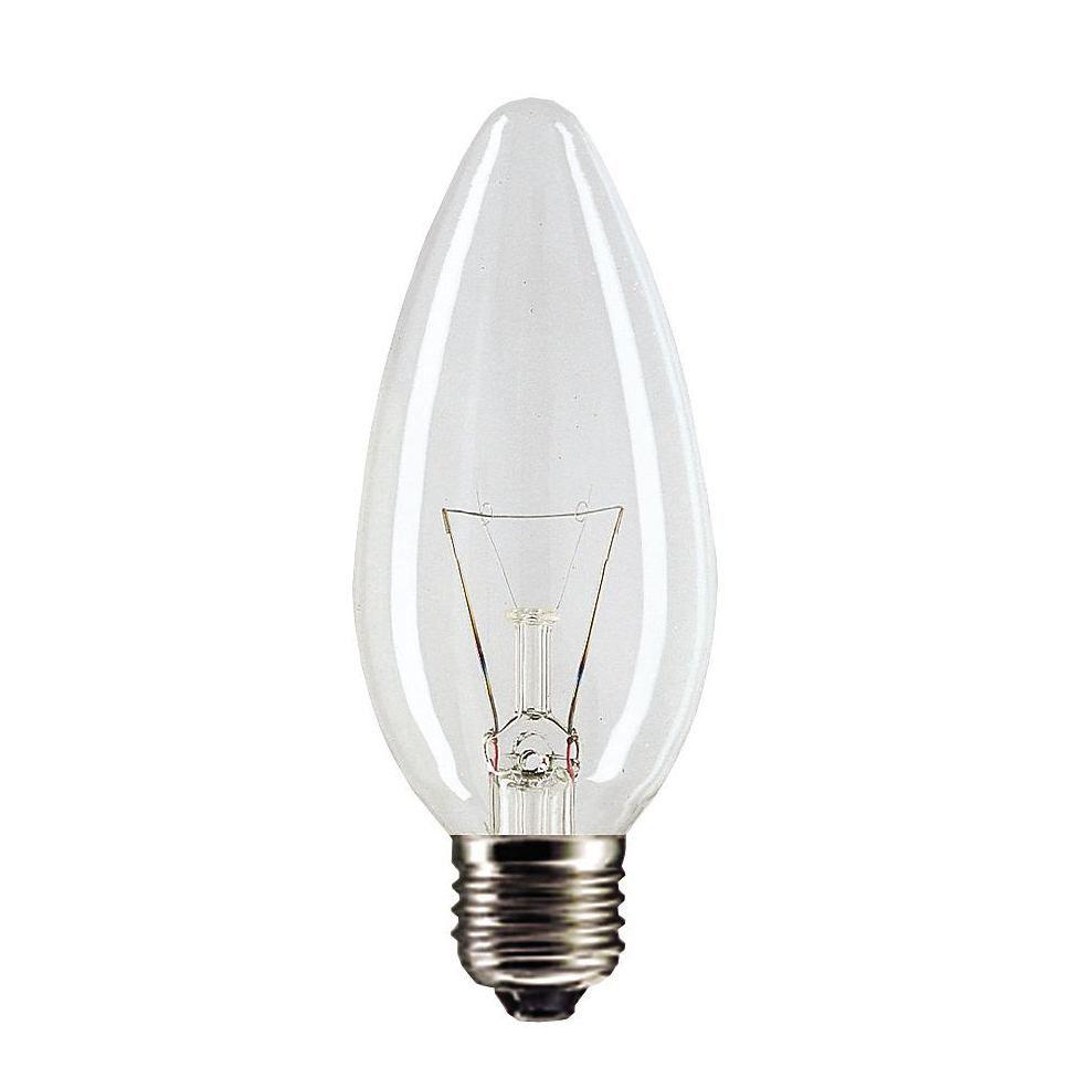 Купить Лампа накаливания Philips Stan 60W E27 230V B35 CL 1CT/10X10F свеча, прозрачная