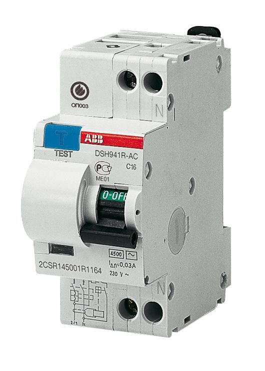 Купить Дифференциальный автомат 1-пол+N 16A с 30mA тип АC 4.5kA ABB DSH941R