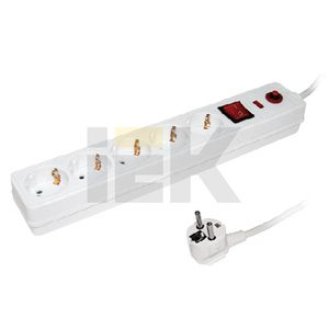 Купить Фильтр сетевой с выключателем СФ-05 5 розеток с заземлением шнур 3м IEK, Китай