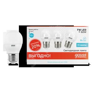 Купить Лампа светодиодная LED 7Вт 230в, E27 белый шар Gauss ПРОМО (3шт в упак) Gauss уп, Китай