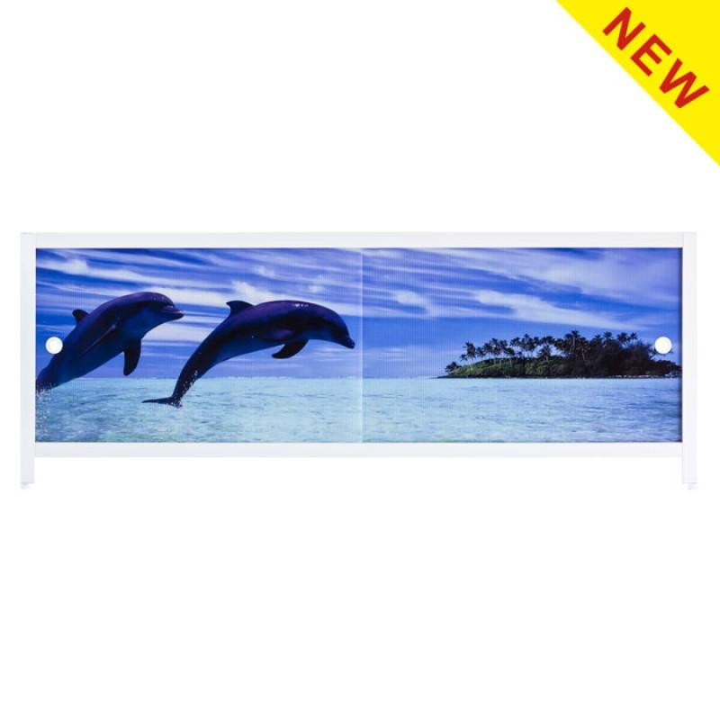 Экран под ванну Ультралегкий АРТ 1,5 м Дельфины МетаКам