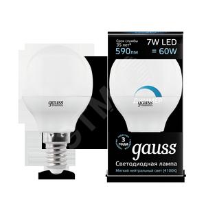 Купить Лампа светодиодная LED 7вт, 230в, Е14, белый, dim, шар Gauss Gauss, Китай