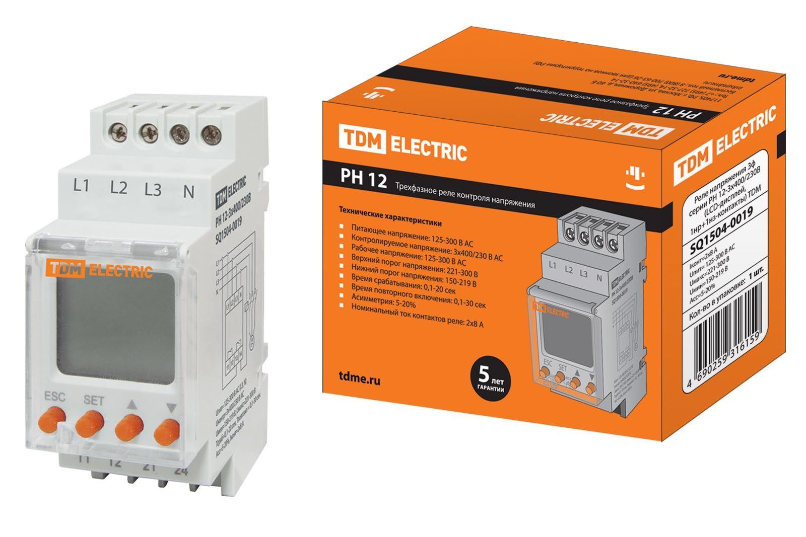 Купить Реле контроля напряжения РН 12-3х400/230В (LCD-дисплей, 1нр+1нз-контакты) TDM, TDM ELECTRIC