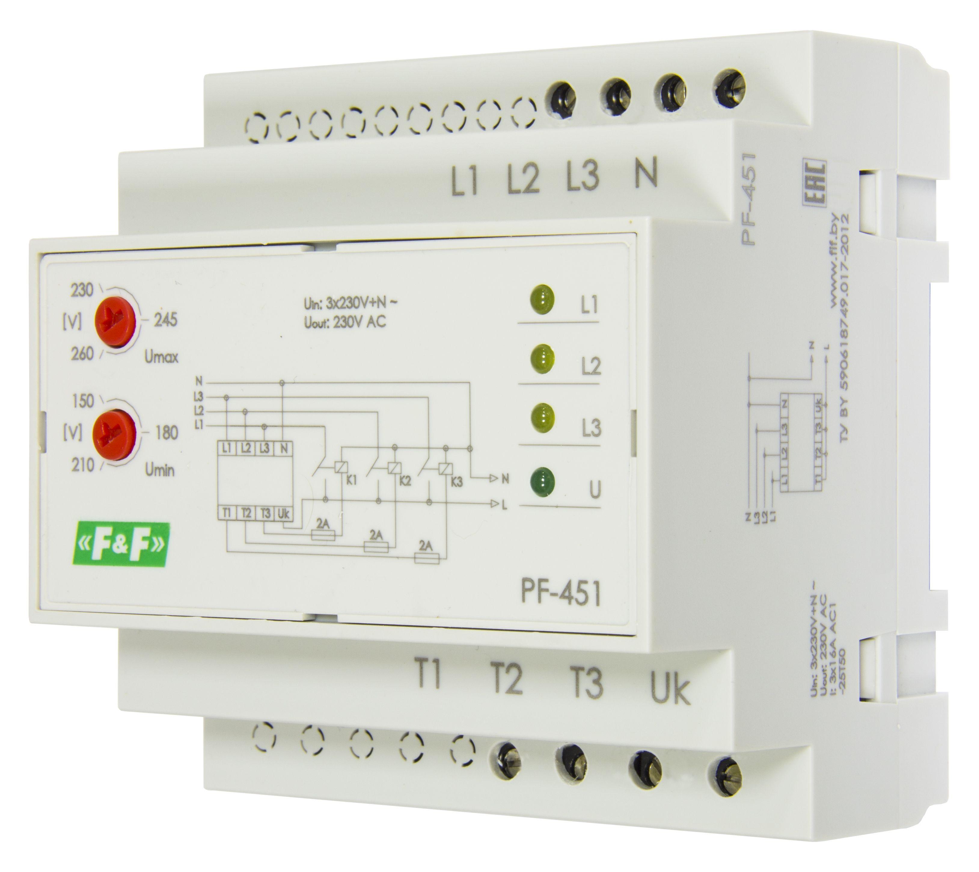 Купить Автоматический переключатель фаз PF-451 с вых. для контакторов, Евроавтоматика ФиФ