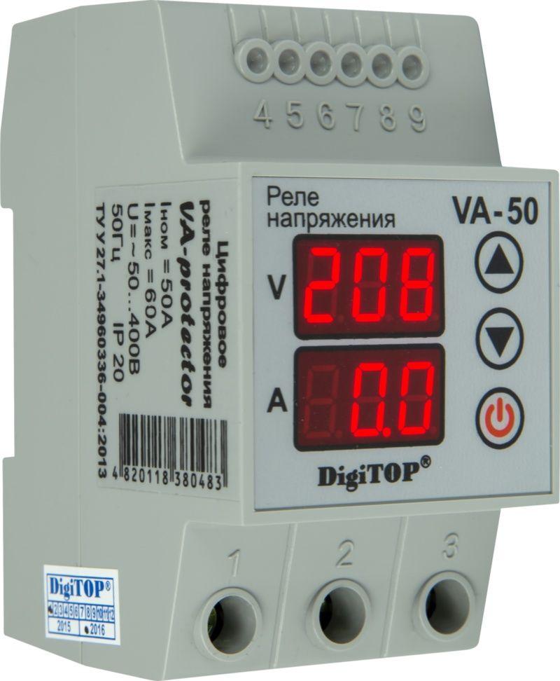 Купить Реле контроля 1-фаз. напряжения и тока VА-50A 50А, DigiTOP