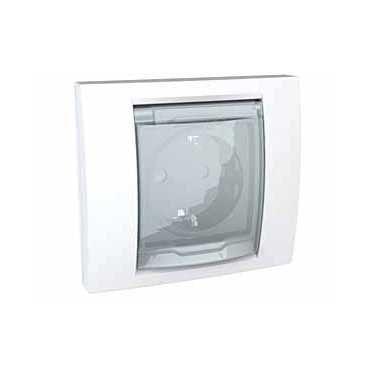 Купить Розетка 2P+E IP44 крышка, защитные шторки 16А/250В белая UNICA Schneider Electri, Schneider Electric