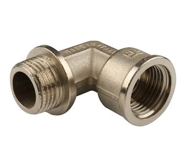 Купить Угольник НВ никелированный с упором 1/2х1/2 для стальных труб резьбовой TIEMME 1, Италия
