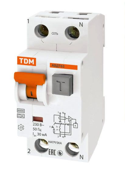 Купить Дифференциальный автомат 2-пол. 32А с 30мА 6кА АВДТ63 TDM АВДТ63, АВДТ64, TDM ELECTRIC