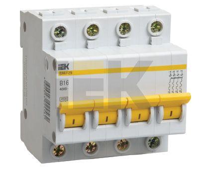 Купить Выключатель автоматический 4-пол. 16A D 4, 5кА ВА47-29 IEK, IEK (ИЭК)
