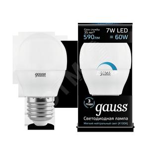 Купить Лампа светодиодная LED 7вт, 230в, Е27, белый, dim, шар Gauss Gauss, Китай