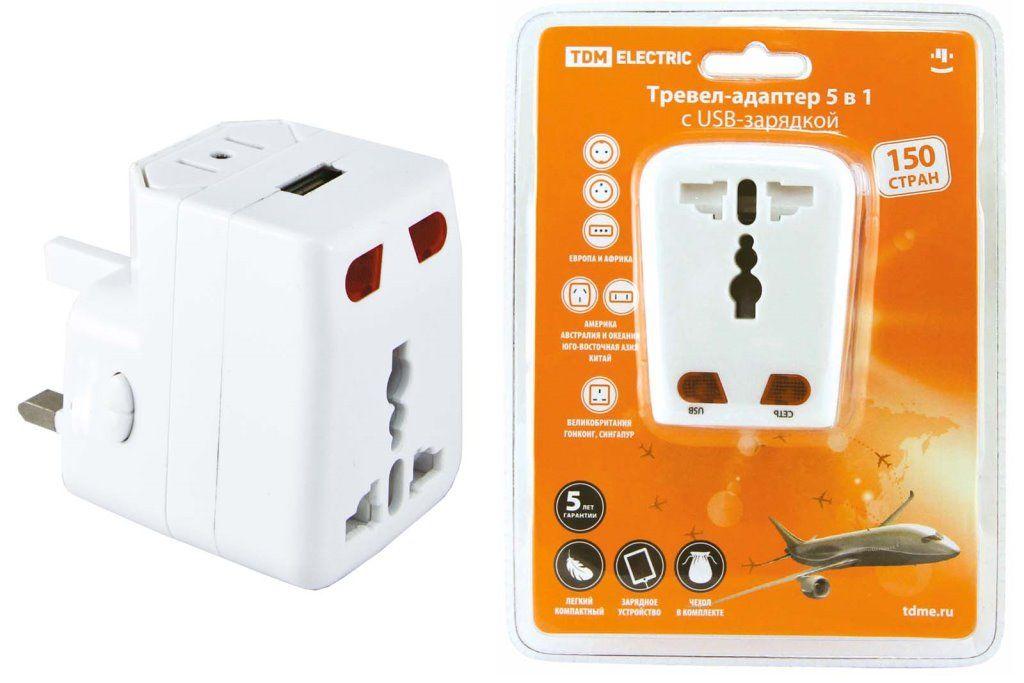 Купить Адаптер сетевой для путешествен. 3А 250В с возможн. заряд. через USB 1000мА TDM, TDM ELECTRIC