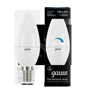 Купить Лампа светодиодная LED 7вт, 230в, Е14, белый, dim, свеча Gauss Gauss, Китай