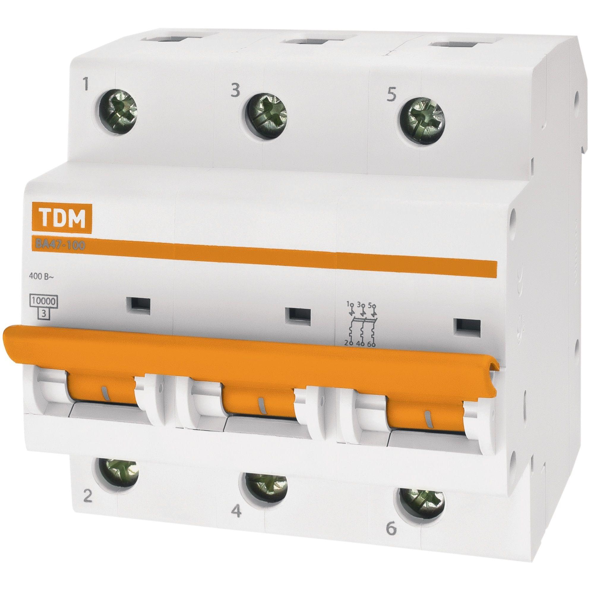 Купить Выключатель автоматический 3-пол. 10А с 10кА ВА47-100 TDM ВА47-100, TDM ELECTRIC