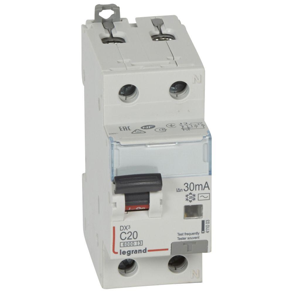 Купить Дифференциальный автомат 1пол.+N 20А 30mA тип AC DX3 Legrand