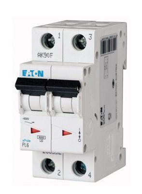 Купить Автоматический выключатель 6А, хар. С, 2-пол., 6 кА PL6 (6 кА), PL7 (10kA), PLHT, EATON