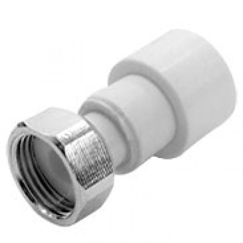 Купить Муфта PPR белая с накидной гайкой 20 х 34 (8584) FDplast