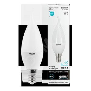 Купить Лампа светодиодная LED 6вт 230в, Е14, белый, свеча на ветру Gauss Elementary Gau, Китай