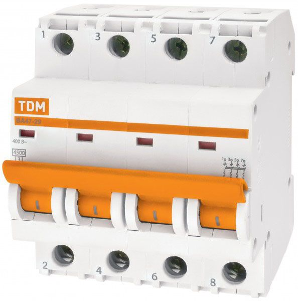 Купить Автоматический выключатель ВА47-29 4Р 16А 4, 5кА с ВА47-29 TDM, TDM ELECTRIC