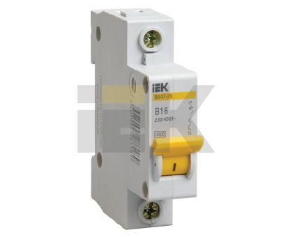 Купить Выключатель автоматический 1-пол.16A D 4, 5кА ВА47-29 IEK D ВА47-29, IEK (ИЭК)
