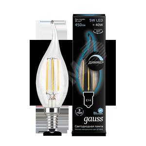 Купить Лампа светодиодная LED 5Вт 230в, E14 Filament белый, dim свеча на ветру, Gauss G, Китай